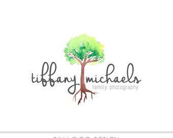 CLEARANCE - Watercolor DIY Business Logo, Pastel, photography, watermark, paint, Family, maple tree, nature, newborn logo, watercolor design