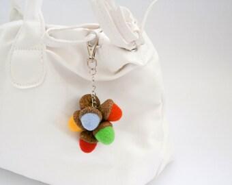 Acorn keychain, Rainbow acorns, Acorn zipper charm, Bag charm, Needle felted acorn, Keyring Charm, Pendant Purse Bag, Key Ring Chain, Keyfob
