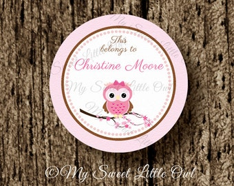 School label - owl name label - name tag sticker - back to school label - pink owl school label - book label - this belongs to label