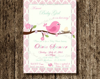 Bird invitation - bird baby shower invitation - bird invite - bird birthday - pink aqua bird printable - pink bird invitation