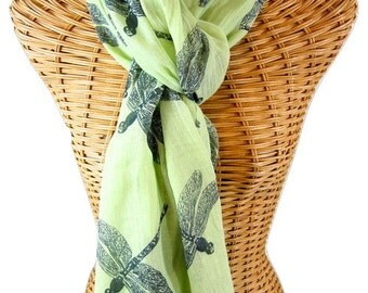 Light Green Organic Cotton Dragonfly Scarf