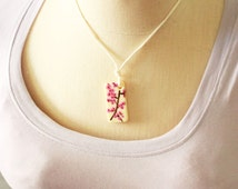 Hand Painted Cherry Blossom Necklace, Cherry Blossom Necklace, Hand Painted Cherry Blossom Domino Necklace, Hand Painted Domino Necklace