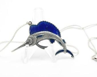 """Vintage Marlin Pendant Sterling Silver On a necklace Cobalt Blue Enamel  17 1/2"""" Swordfish"""
