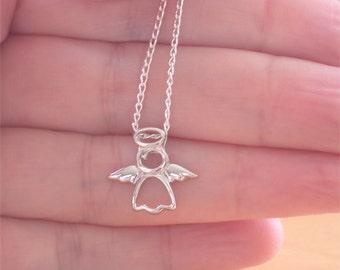 "925 Silver Angel Pendant & 18"" Silver Chain/925 Angel Necklace/Angel Jewellery/Angel Jewelry/Angel Jewelry/925 Angel x Halo/Guardian Angel"