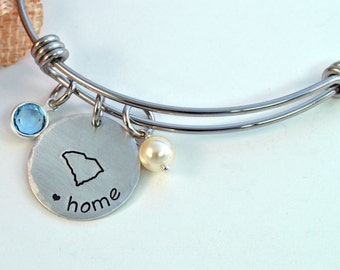 State Pride Home Expandable Bangle, State Bracelet, Home Bangle, State Jewelry