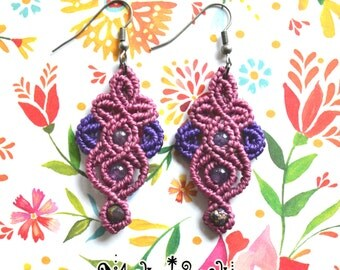 "Macrame earrings ""Cherry blossom"" with Amethyst and Electroplate natural Citrine chips"