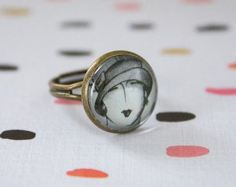 Vintage lady illustration black and white ring, bronze ring, glass ring, adjustable ring