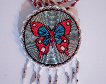Native American Beaded Butterfly Medallion Necklace