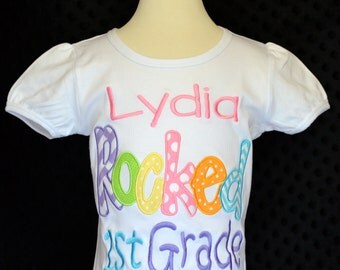 """Personalized """"Your Child's Name"""" Rocked Kindergarten 1st 2nd 3rd Grade Applique Shirt or Onesie Girl or Boy"""