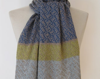 Handmade cashmere scarf/ knitted cashmere scarf/ cashmere scarf/ womans scarf/ sapphire blue scarf with lime and sky borders