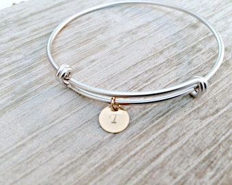 Personalized Initial Bangle letter Bangle gold silver bangle custom hand stamped circle disc initial jewelry letter bangle monogram jewelry