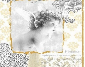 Vintage Style Decoupage Paper Lunch Napkins - Angel of Baroque -  set of 5