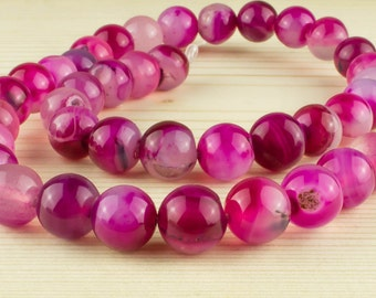 10 mm hot pink agate beads • Agate pink beads • Round agate beads • Natural agate beads • Pink agate beads• Gemstone beads• Birthstone agate