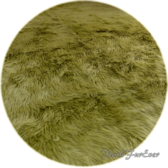 Olive Green Shaggy Premium Faux Fur Nursery Area Round Rugs