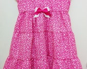 Handmade Size 5T Twirly, Tiered Summer Sundress with Bright Pink Flowers
