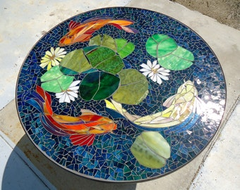 Mosaic table floral pattern custom stained by paradisemosaics for Koi pool table