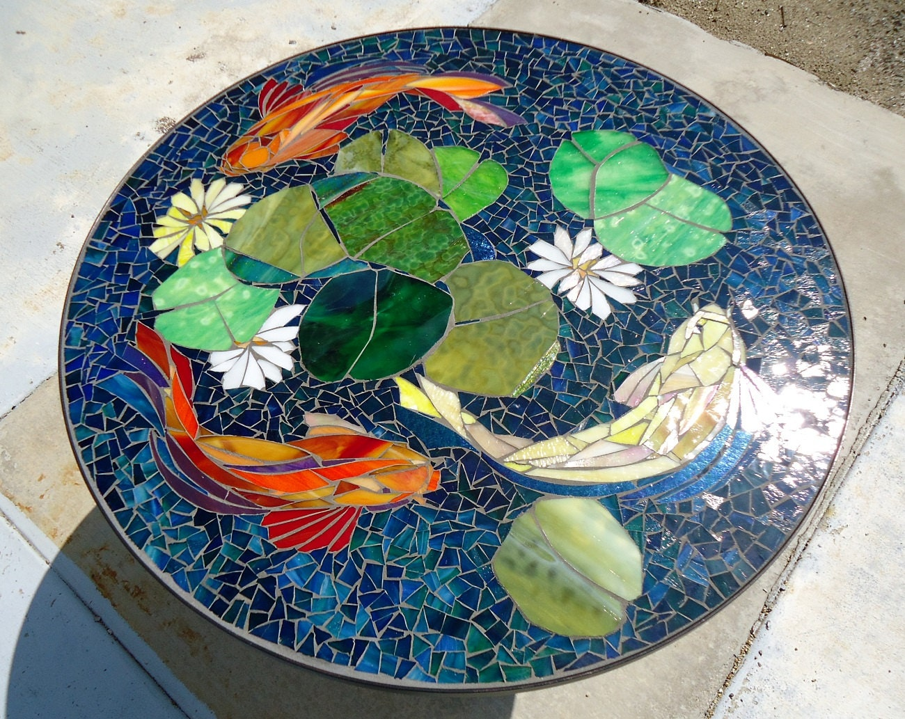 Custom koi stained glass mosaic table top or by for Koi fish pool table