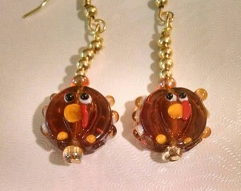 Turkey Glass Beaded Earrings Perfect for Thanksgiving and Gift for Teachers Item No. 39