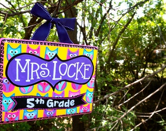 Personalized Teacher Door Sign with Owl Theme