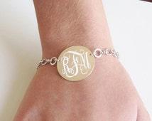 Sterling Silver Monogram Disc Bracelet, Rhodium Chain Bracelet, Personalized Disc, Silver Link Bracelet, Graduation Gift, Mothers Day, Gift