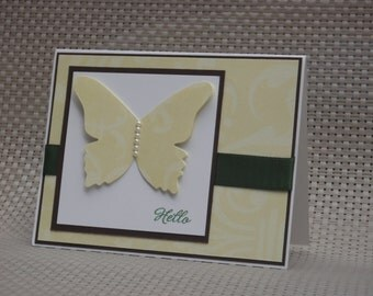 Hello Card Featuring Large Butterfly