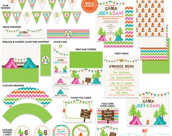 Camping Party Printable Birthday Party Printables Kit Twins Co-Ed