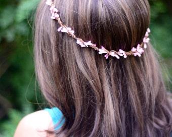 THE DAKOTA - Pink Sprout Woodland Wreath Halo Flower Girl Bridal Wedding Hair children's Boho Floral Crown headpiece summer spring