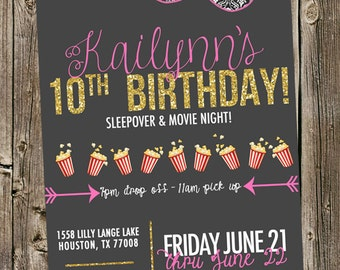 Birthday Invitation - Sleepover Movie night