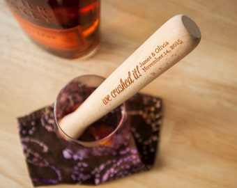 Set of 50 Cocktail Muddler Wedding Favors with Personalized Engraving | Stock the Bar Bridal Shower Favors