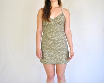 90s Green Floral Mini Halter Dress / Small Tight Cotton Dress - Vintage 1990s