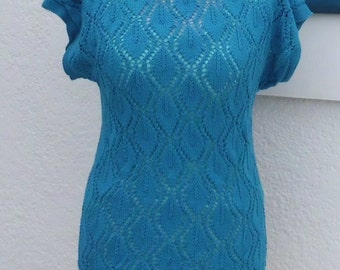 hand knitted summer sweater, top, handknitted, cotton