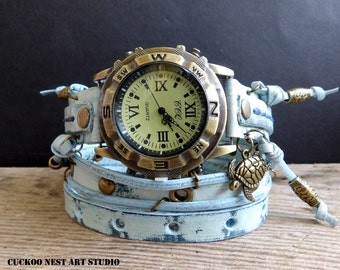 Ocean Blue leather Watch, Womens wrap watch, Bracelet Watch, Chain Wrist Watch, Blue leather Watch with Turtle charm, womens leather cuff