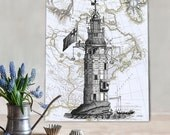 Winstanley Eddystone Lighthouse print on Nautical Map, Wall Art Print Nautical print sea picture beach house decor wall decor wall hanging