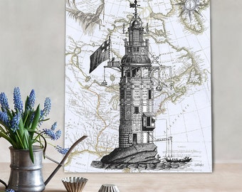Winstanley Eddystone Lighthouse print on Nautical Map, Wall Art Print Nautical print sea picture beach house decor wall decor wall hanging