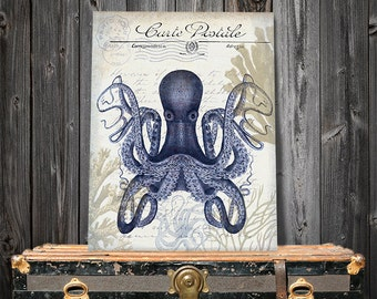 Seaside Postcard Octopus Print on Cream - seaside décor seaside beach art Coastal Décor beach house décor octopus nursery art print poster