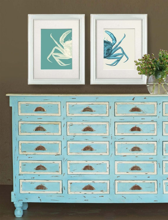 Nautical art prints crab prints turquoise nautical gift for Anchor decoration runescape