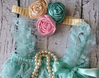 Mint Petti Lace Romper Set- Baby Girl Romper- Lace Romper