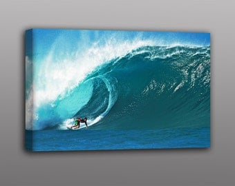 Surf Photography, Surfing the Pipeline Surfer Photo Canvas Print Art Home Decor