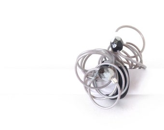Asteroid Belt Telephone Wire Ringgg - Upcycled and Eco-Friendly Geek Jewelry - Nerd Girlfriend