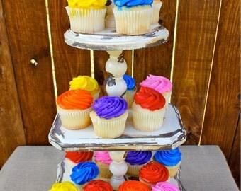 Cream Distressed Wooden 3 Tier Cupcake - Vintage Cupcake Stand - 3 Tier Dessert Stand - 3 Tier Food Stand - 3 Tier Decorative Piece
