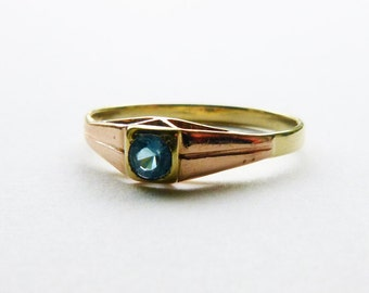 Art Deco 14k two tone rose yellow gold stacking ring with solitaire blue topaz gem stone size 7.25