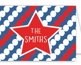 Personalized Patriotic Folded Note Cards - Set of 30 Monogram Notes