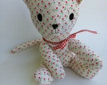 Vintage Style Stuffed Kitty Cat Toy with Gingham Ribbon