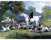 Fabulous Vintage English Huntsman and His Hounds Horse Equestrian Digital Download Printable Image For DIY Paper Crafts