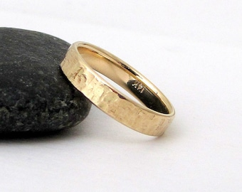 Mens Wedding Band Gold Wedding Ring Unique Wedding Rings 14k Engraved Personalized Wedding Rings Rugged Rustic Wedding Bands Gift for Him