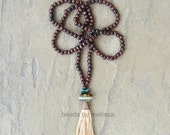 """40"""" wood bead long necklace with handmade tassel"""