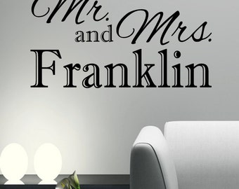 "PERSONALIZED Wall Decal- ""Mr & Mrs"""