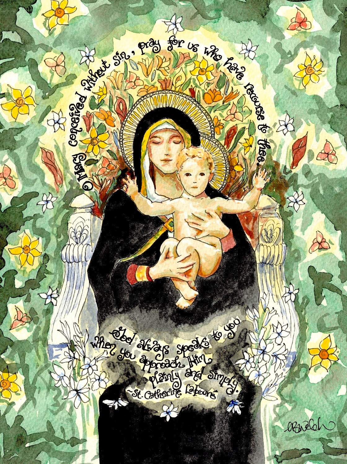 Our Lady Of The Lilies Watercolor Catholic Art Print With