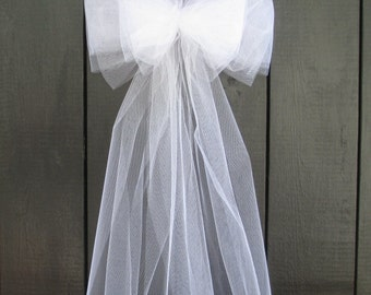 Tulle Pew Bow, Wedding Bridal Engagement, White Ivory, New Mom Baby Shower, Aisle Chair, Party, Centerpiece