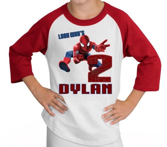 Spiderman Birthday Raglan Shirt Personalized - Peter Parker, hero, marvel
